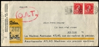 Lot 1335:1945 (Apr 24) Atlas Machines Americaines advertising cover to New York, censored in Brussels with bilingual censor tape, Type I 'OAT' applied in London, probably carried per favour aboard military plane from London to USA as letter likely concerned Belgium's post-war reconstruction. Very fine condition.
