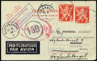 Lot 1336:1945 (May 22) use of 1fr Postal Card uprated for airmail transit from Antwerp (where censored) to Sweden, Type I 'OAT' cachet applied in London, with termination of hostilities in Europe, cover could be safely flown from London to Stockholm overflying previously occupied Norway, cover re-directed twice on arrival.