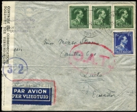 Lot 1338:1945 (Jun 20) cover to Quito, Ecuador with 16fr75c franking paying postage (1fr75c) & airmail (15fr) fees, likely a triple-rate (5fr per 5gm) cover, though possibly 15fr was the Pan-Am single-rate fee to Ecuador (but was not widely published as being so), censored in Brussels with bilingual censor tape, Type I 'OAT' cachet applied in London. Unusual origin/destination item.