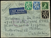 Lot 1339:1945 (Jul 14) double-rate airmail cover to California with 15fr75c franking, tied by Brussels datestamps, paying postage (1fr75c) and second-step airmail fee (14fr), Type I 'OAT' cachet (in purple-red) applied in London, dated censor cachets on reverse, passing the letter without opening; cover a little roughtly opened.