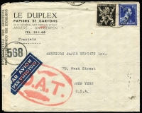 Lot 1337:1945 (May 3) Le Duplex (paper suppliers) cover to USA with 11fr75c franking, tied by Brussels datestamp, paying postage (1fr75c) and airmail (10fr) fees, censored in Brussels, Type V 'OAT' cachet (oval 68x44mm) in red applied in London. Probable route described in vendor's typed annotations.