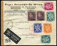 Lot 1341:1945 (Aug 1) airmail cover to NSW with 30fr franking tied by Mechelin datestamps, paying postage (1fr75c) and airmail (28fr) fees (overpaid 25c) for letter weighing up to 20g, censored in Brussels then by BOAC to London where Type VI 'OAT' handstamp applied, thence by North Atlantic route via Gander to New York, then train to San Francisco and boat to Australia. Attractive multi-franking.