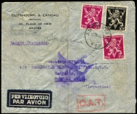 Lot 1041:1945 (Oct 17) commercial airmail cover to Argentina endorsed 'Langue Française' with 15fr50c franking, tied by Antwerp datestamp, paying postage (3fr50c) & airmail fee (12fr), Type VII 'OAT' cachet in red applied in London. Likely route described in vendor's typed annotations. Scarce origin/destination for the period. [The 'Langue Francaise' endorsement indicates censorship was expected in Argentina. A cachet '1619' was applied on reverse by the censor, however the letter remained unopened]