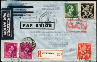 Lot 1042:1945 (Oct 23) registered cover to Buenos Aires endorsed 'English' (language declaration) with 19fr franking, tied by Antwerp datestamps, paying postage (3fr50c), airmail (12fr) & registration (3fr50c) fees, Type VIII 'OAT' cachet in red applied in London. Likely routing described in vendor's typed annotations. [It is interesting to note that six months after end of hostilities in Europe, the writer declared the language in which letter was written, expecting censorship in Argentina, however the letter was never opened]