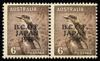 Lot 569:1946-49 6d kookaburra pair right-hand unit variety 'N' of 'JAPAN' in wrong font [R1/8], mild gumside tone on variety unit, faint gum bend non-variety unit, MUH.