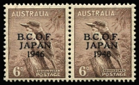 Lot 1063:1946-49 6d kookaburra pair right-hand unit variety '6' in wrong font [L9/4], non-variety unit gum crease, MUH, Cat $470+.