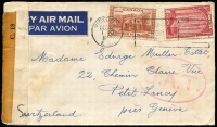 Lot 1361:1943 (Dec 16) airmail cover to Geneva with 20c & 10c tied by Victoria slogan cancel, censored in Vancouver, Type I 'OAT' handstamp applied in London, probable route and reason for lack of transit markings outlined in vendor's typed annotations.