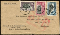 Lot 1082:1945 (Aug 21) airmail cover to New York with 2r60c airmail rate franking tied by Colombo datestamps, uncensored as sent after the end of hostilities in Europe and in the Pacific. Probable route TATA to Karchi, BOAC horseshoe route to Teheran, Aden, Asmara, Khartoum & Cairo, thence to Rome, Paris & London where Type VI 'OAT' cachet applied, then taking North Atlantic route via Gander to New York.
