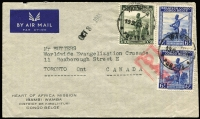 Lot 1101:1945 (Sep 19) Heart of Africa Mission cover to Canada with 15fr50c franking (underpaid 50c but not taxed) tied by Wamba datestamps, paying postage (3fr50c) & airmail (12fr50c) fees, Type VIII 'OAT' cachet (33x18mm, small rectangular boxed frame, final stop with vertical extension) in red applied in London. Likely route fully described in vendor's typed annotations. This is the ERD for the Type VIII cachet.