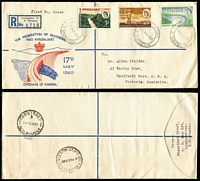 Lot 6 [4 of 17]:Australasia & Brirish Commonwealth mostly FDCs including AAT 1950s, Christmas Is 1958 set, New Zealand various 1940-60s, Malta, GB 1957 Jamboree illustrated; also few Australia aerogram FDI, others etc, plus some odd stamp packets. (approx 160 items).