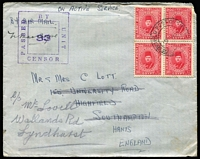 "Lot 19 [2 of 5]:Egypt 1940 Covers with WWII ""active service"" covers x2 (one an Honour Envelope) both with fine strikes of 'PASSED BY UNIT CENSOR/33' cachets, 1945 Comptoir Philatelique Oriental (Port Said) censored to England with 17m solo, 1948 Aswan registered to England, 1949 uprated use of GB 6d Aerogramme from SS Empire Brent passenger; condition variable. (5)"