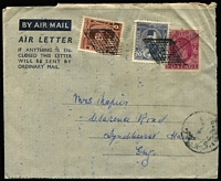 "Lot 19 [3 of 5]:Egypt 1940 Covers with WWII ""active service"" covers x2 (one an Honour Envelope) both with fine strikes of 'PASSED BY UNIT CENSOR/33' cachets, 1945 Comptoir Philatelique Oriental (Port Said) censored to England with 17m solo, 1948 Aswan registered to England, 1949 uprated use of GB 6d Aerogramme from SS Empire Brent passenger; condition variable. (5)"