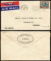Lot 113 [2 of 3]:South Africa 1933-72 Cover Group with [1] 1933 Port Elizabeth 10d rate airmail to Scotland, rouletted black on blue airmail label; [2] 1942 registered printed cover from Mossel Bay/Baai to Cape Town; [3] 1947 Johannesburg 2/6d airmail rate cover to USA; [4] 1972 (Nov 20) 9c Flower solo paying surface rate on cover to military officer in England, redirected with FPO '482' datestamps for Dec 12th, 15th & 18th and FPO '187' Dec 28th arrival backstamp. (4)