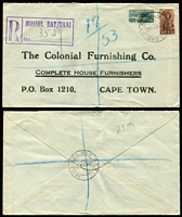 Lot 113 [3 of 3]:South Africa 1933-72 Cover Group with [1] 1933 Port Elizabeth 10d rate airmail to Scotland, rouletted black on blue airmail label; [2] 1942 registered printed cover from Mossel Bay/Baai to Cape Town; [3] 1947 Johannesburg 2/6d airmail rate cover to USA; [4] 1972 (Nov 20) 9c Flower solo paying surface rate on cover to military officer in England, redirected with FPO '482' datestamps for Dec 12th, 15th & 18th and FPO '187' Dec 28th arrival backstamp. (4)