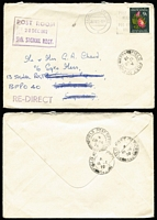 Lot 113 [1 of 3]:South Africa 1933-72 Cover Group with [1] 1933 Port Elizabeth 10d rate airmail to Scotland, rouletted black on blue airmail label; [2] 1942 registered printed cover from Mossel Bay/Baai to Cape Town; [3] 1947 Johannesburg 2/6d airmail rate cover to USA; [4] 1972 (Nov 20) 9c Flower solo paying surface rate on cover to military officer in England, redirected with FPO '482' datestamps for Dec 12th, 15th & 18th and FPO '187' Dec 28th arrival backstamp. (4)