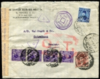 Lot 1130:1946 (Jun 26) cover to Sweden with 67m franking, tied by Alexandria datestamps, paying postage (22m) & airmail (45m) fees, censored in Cairo with bilingual censor tape and English and Arabic censor handstamps, probably routed via Rome and London where Type VI 'OAT' cachet (broken rectangular frame, 56x37mm) applied in red, then by SAS air service to Gothenburg.