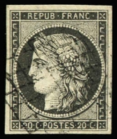 Lot 1397:1849-52 Imperf Ceres 20c grey SG #8 (Maury 3i), large balanced margins all around, fresh and cleanly cancelled by a light strike of grid type cancel; a very fine example of this rare shade, ?1,900. Papadopoulos Certificate (1981).
