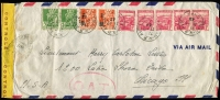 Lot 1405:1943 (Dec 21) airmail cover to Chicago with 19fr franking paying postage (4fr) and airmail fee (15fr) tied by Oran datestamps, censored in Oran with yellow tape tied by 'OUVERT' handstamp, Type I 'OAT' handstamp applied in London. Likely route outlined in vendor's typed annotations, which suggest the final leg of the journey, from Lisbon to USA, was on the FAM-22 winter route via South America. Attractive cover.