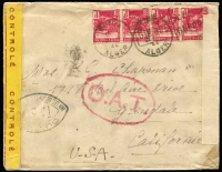 Lot 1406:1944 (Jan 20) dual censor surface rate cover to USA with 4fr franking tied by Blida/Alger slogan datestamp, yellow censor tape tied by 'OUVERT' handstamp applied in Alger, Type I 'OAT' handstamp applied in London (where again censored), thence travelling final leg Lisbon to USA airmail utilising the FAM-22 winter route via South America.