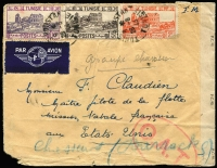 Lot 1409:1943 (Aug 28) Franchise Militaire airmail cover USA with 17fr franking paying airmail rate to USA (postage free for military), censored on arrival in London where Type I 'OAT' cachet applied. Cover addressed to F Claudien a senior pilot for the French Naval Fleet Mission to the USA, apparently from his wife.