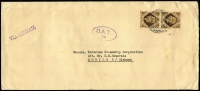 Lot 1420:1951 (Dec?) cover From 'BAOR 8' at Luneberg (nr Hamburg) to Waterman Steamship Corporation (Alabama) with GB 2/- franking paying airmail rate for item weighing up to 1oz, stamps tied by FPO 463 datestamp, Type XVII 'OAT/FS' cachet in violet (28x16mm single-lined oval, 'FS' added) applied in GB Foreign Section. Vendor's typed annotations describe probable route taken.