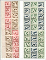Lot 1419 [3 of 3]:1936 Olympic Games 12pf+3pf & 6pf+4pf Stamp Booklet Blocks Mi #MHB57-58 x2 of each, one of each type with an extra vertical column, fresh MUH, Cat €4,200+. (4 items)