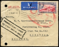 Lot 1426:1945 (Jun 21) airmail cover to Holland with KGVI 6d Pictorial paying airmail fee to UK, endorsed with very fine strike of boxed 'PREPAID FOR AIR TRANSIT/TO GREAT BRITAIN ONLY', censored in Gibraltar, Type V 'OAT' cachet in red applied in London. Probable route fully described in vendor's typed annotations.