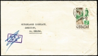 Lot 1275:1964 (Jul 20) surface cover to St Helena with QEII 6d Pictorial tied by Gibraltar datestamp, routed to UK by ship, Type XIX 'OAT/FS' cachet in violet applied in error in London (there was no airmail service to St Helena) subsequently scored through in blue pencil, minor spotting. The only OAT cover we have seen where the cachet has been deleted as an airmail service did not exist.