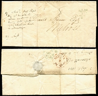 Lot 396 [2 of 9]:1827-1848 Pre-Stamp/Stampless Group with 1827-39 Crown/Free handstamps on fronts x5; also 1840 entire London to Bradford with 'St John St/1d - PAID' handstamp in black, circular 'PAID' handstamp, Keighley transit backstamp & Bradford arrival datestamp and Scotland 1830 Leith to Melrose with 'Add/½' handstamp, plus two other entires. (9)