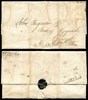 Lot 396 [6 of 9]:1827-1848 Pre-Stamp/Stampless Group with 1827-39 Crown/Free handstamps on fronts x5; also 1840 entire London to Bradford with 'St John St/1d - PAID' handstamp in black, circular 'PAID' handstamp, Keighley transit backstamp & Bradford arrival datestamp and Scotland 1830 Leith to Melrose with 'Add/½' handstamp, plus two other entires. (9)