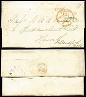 Lot 396 [1 of 9]:1827-1848 Pre-Stamp/Stampless Group with 1827-39 Crown/Free handstamps on fronts x5; also 1840 entire London to Bradford with 'St John St/1d - PAID' handstamp in black, circular 'PAID' handstamp, Keighley transit backstamp & Bradford arrival datestamp and Scotland 1830 Leith to Melrose with 'Add/½' handstamp, plus two other entires. (9)