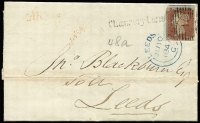 Lot 1366:1847 (June) outer from London with imperf 1d red-brown tied by Bars '12'-in diamond cancel with 'Chancery Lane' straight-line handstamp alongside, Leeds 'JU10/1847' arrival datestamp in blue also ties stamp.