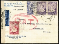 "Lot 1458:1945 (May 14) cover to Sweden with manuscript endorsement ""par avion au de la/de Londres"" and typed 'Commercial/Via London', 45d franking paying postage and airmail to London only, censored in London with circular 'PASSED BY/GREEK CENSOR' handstamp and Type V 'OAT' cachet applied in red, sent by train from London to Scotland then by air from Leuchars to Stockholm. Probable route fully described in vendor's typed annotations, plus considerable extra details on reverse in regards to rates and other information."