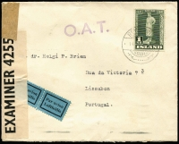 Lot 1472:1942 (Feb 14) cover to Portugal with 1kr solo franking paying combined postage and airmail fee, stamp tied by Reykjavik datestamp, censored in UK with Type XIII 'OAT' cachet in violet (37x10mm, unframed with diamond shaped stops after letters) applied in Prestwick, UK. Probable route fully described in vendor's typed annotations. [This cover would have contained an 'undercover' letter for forwarding to Denmark. The addressee Dr Helgi P Briem was the Icelandic Trade Commissioner to Portugal. He accepted such letters from Iceland to forward to Denmark, direct mail having been suspended after Germany's 1940 invasion of Denmark, meaning that mail had to pass through a neutral country such as Portugal.]