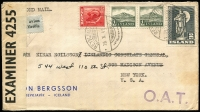 Lot 1473:1942 (Oct 20) cover to New York with 4k25a franking paying postage (45a), additional postage (20a) & airmail fee (3k60a) for item weighing up to 20g, stamps tied by Reykjavik datestamps, censored in UK with Type XIII 'OAT' cachet in violet applied in Prestwick. Likely route options fully described in vendor's typed annotations.