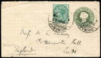 Lot 1736 [1 of 2]:1903 (Nov 26) used of India ½a Stationery Envelope uprated with India ½a QV for transit to England, stamps tied by Srinigar datestamp, Sea Post Office transit & Leeds arrival backstamps.