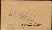 Lot 1378 [2 of 2]:1928 Calcutta-Rangoon Flight Cawnpore Crash Cover Nierinck #281003b with ½a KGV x2 tied by Park Street, Calcutta '4OC28' datestamps, attractive red and green flight cachet with '3RD OFFICIAL MAIL' handstamp beneath, boxed flight cachet on reverse and signed beneath by Stephen H Smith, 143 covers carried.