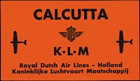 Lot 1821 [2 of 2]:1932 Calcutta-Medan (Oct 3) KLM first flight to Dutch East Indies, Medan backstamp, 197 covers carried on flight; also a striking KLM black on red flight etiquette. (2 items)