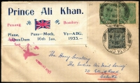 Lot 1383 [1 of 2]:1933 Penang-Bombay (Jan 16) Prince Ali Khan flight with attractive flight vignette tied by red eagle cachet, cancelled on arrival at Santa Cruz, signed on reverse by Stephen H Smith. 91 covers flown.