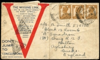 Lot 1374 [1 of 2]:1941 (Oct 14) printed 'V' Airmail cover to RAF Halton, Aylesbury, England with 1a3p x3 tied by Elgin Road Calcutta datestamp, censor handstamps; central fold and some edge blemishes.
