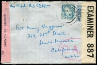 "Lot 1525:1940 (Oct 2) cover to California endorsed ""Air Mail Via Clipper"" with 1/- & 3d tied by Longford datestamps paying ½oz airmail rate, censored in Dublin and again in London after the Type I 'OAT' oval handstamp (oval 50x32mm, square stops after letters) had been applied, the likely airmail route thereafter (via Portuguese Guinea) is fully written up with a map of the presumed (winter) route shown."