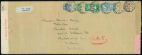 Lot 1527:1945 (Apr 4) 5/- quadruple rate, triple-censored, oversized (370x140mm) airmail cover to Melbourne, censored in Dublin, London (where Type I 'OAT' handstamp also applied) and Melbourne, edge tear & couple of vertical folds (clear of stamps); suggested routes as Lot 1504.
