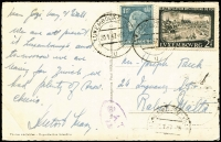 Lot 1672:1957 (Jan 20) PPC to Malta with 3fr50c franking tied by Luxembourg-Ville datestamps, Type XVII 'OAT/FS' cachet in violet applied in London.