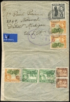 Lot 1689:1943 (Sep 3) airmail cover to Detroit with 2/4d airmail rate franking tied by Prince of Wales Rd/Sliema datestamps, censored in Malta, Type II 'OAT' cachet in violet (rare) applied in London; cover opened-out for display and slightly reduced at left. Likely routing of this cover fully descibed in vendor's type annotations.
