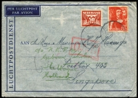 Lot 1593:1945 (Dec 31) airmail cover to Singapore with 72½c franking tied by Huis ter Heide datestamp, Type XI 'OAT' cachet in red applied in London. Probable route fully described in vendor's typed annotations. After several months the cover was redirected back to Holland.
