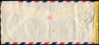Lot 1405 [2 of 2]:1943 (Dec 21) airmail cover to Chicago with 19fr franking paying postage (4fr) and airmail fee (15fr) tied by Oran datestamps, censored in Oran with yellow tape tied by 'OUVERT' handstamp, Type I 'OAT' handstamp applied in London. Likely route outlined in vendor's typed annotations, which suggest the final leg of the journey, from Lisbon to USA, was on the FAM-22 winter route via South America. Attractive cover.
