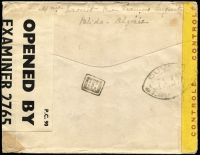 Lot 1406 [2 of 2]:1944 (Jan 20) dual censor surface rate cover to USA with 4fr franking tied by Blida/Alger slogan datestamp, yellow censor tape tied by 'OUVERT' handstamp applied in Alger, Type I 'OAT' handstamp applied in London (where again censored), thence travelling final leg Lisbon to USA airmail utilising the FAM-22 winter route via South America.