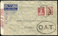 Lot 889:1943 (Jan 22?) Swedish Chamber of Commerce (Sydney) airmail cover to Sweden with 7d franking paying surface rate postage to GB and onward airmail fee (4d) from London to Sweden, censored in London with bold strike of Type II 'OAT' cachet applied, being the second earliest recorded date of usage of Type II cachet, some 3 months before Heifetz's ERD.