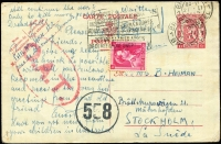 Lot 1334 [1 of 2]:1945 (Feb 21) 1fr Postal Card uprated 1fr for airmail transit from Brussels (where censored) to Stockholm, Type I 'OAT' cachet applied in London, flown from Scotland to Stockholm by BOAC De Havilland Mosquito, as Norway still under occupation by Germany.