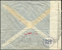Lot 1338 [2 of 2]:1945 (Jun 20) cover to Quito, Ecuador with 16fr75c franking paying postage (1fr75c) & airmail (15fr) fees, likely a triple-rate (5fr per 5gm) cover, though possibly 15fr was the Pan-Am single-rate fee to Ecuador (but was not widely published as being so), censored in Brussels with bilingual censor tape, Type I 'OAT' cachet applied in London. Unusual origin/destination item.